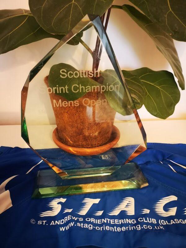 Scottish Sprint Championships 2021 Open Men's trophy, belonging to Rudi Paul